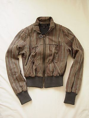 Women's Grey, Khaki striped and checkered FOREVER NEW bomber jacket, size 8 (previously owned)   A great casual  light jacket that is great for spring and autumn seasons.   Available to Australia customers only