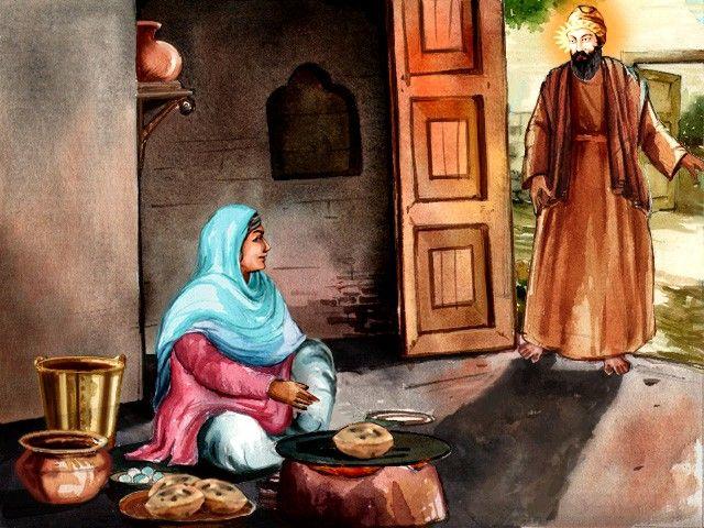 Guru Nanak Dev Jee coming back to see Bebe Nanaki Jee, Bebe Nanaki Ji, the first faithful disciple (Sikh) of Guru Nanak Dev Ji