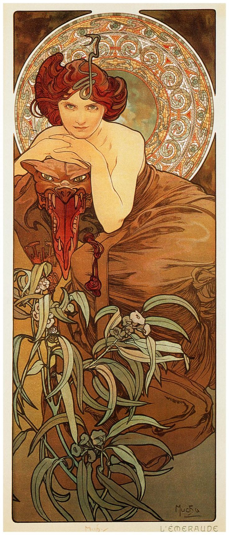Alphonse Maria Mucha Emerald From The Precious Stones Series 1900