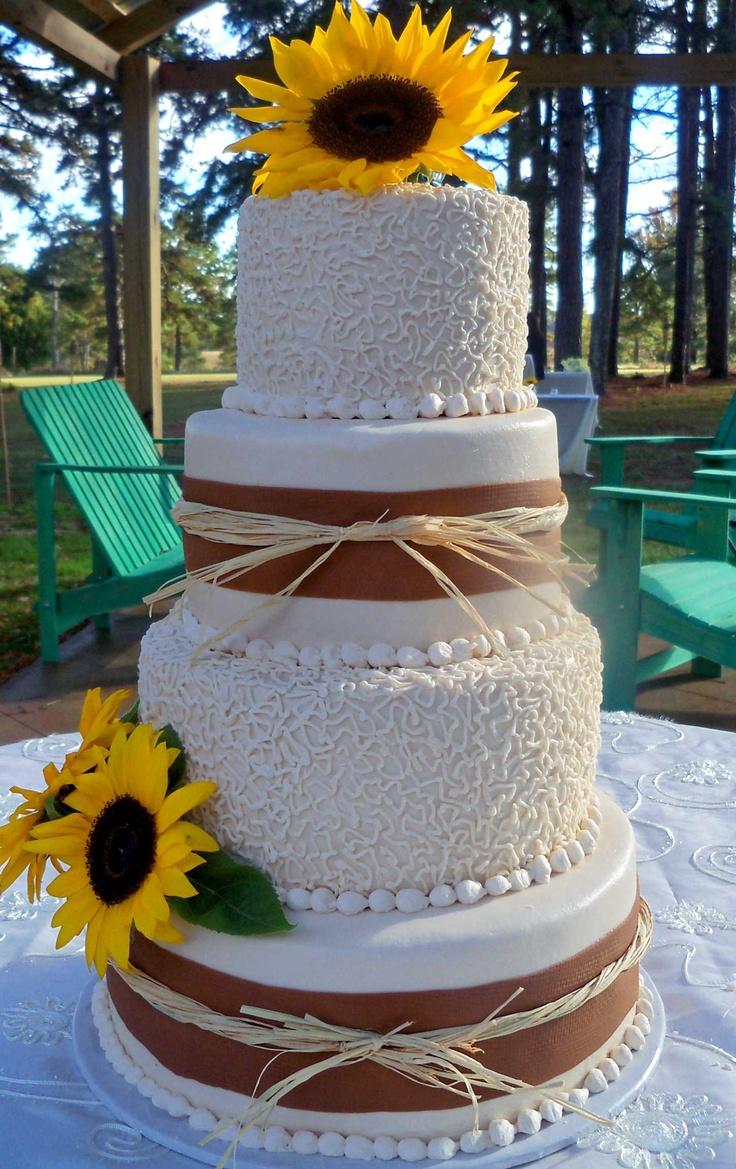 Sunflower, Burlap and Lace Wedding Cake
