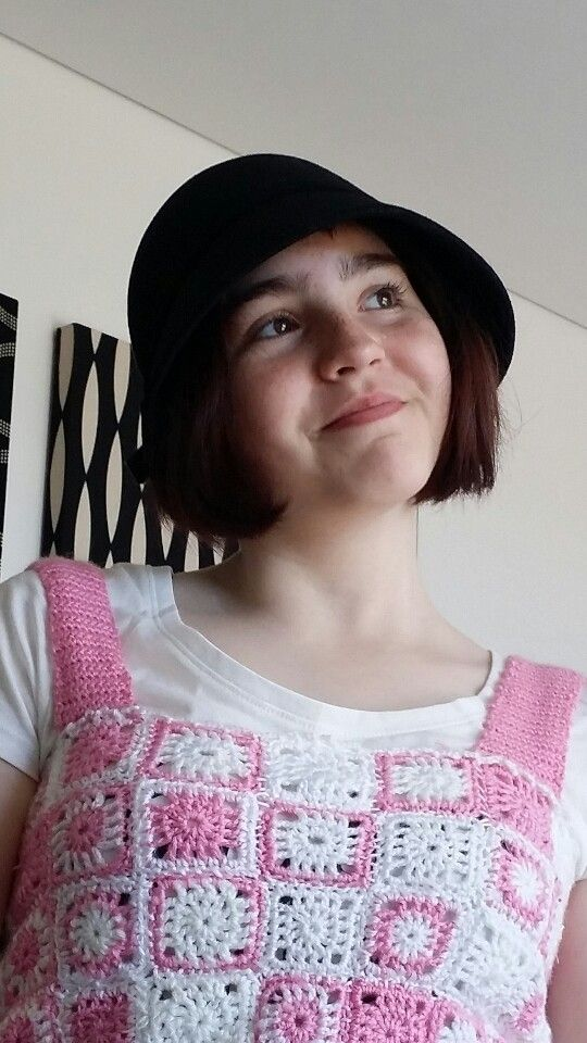 The sassy daughter in her crocheted peasant bodice. Was fiddly but she looks good in it