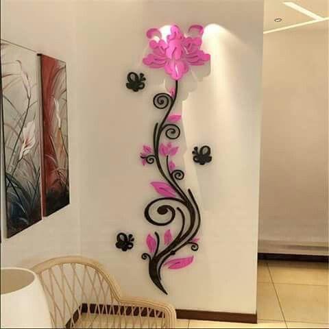 decoración en madera para pared, flores