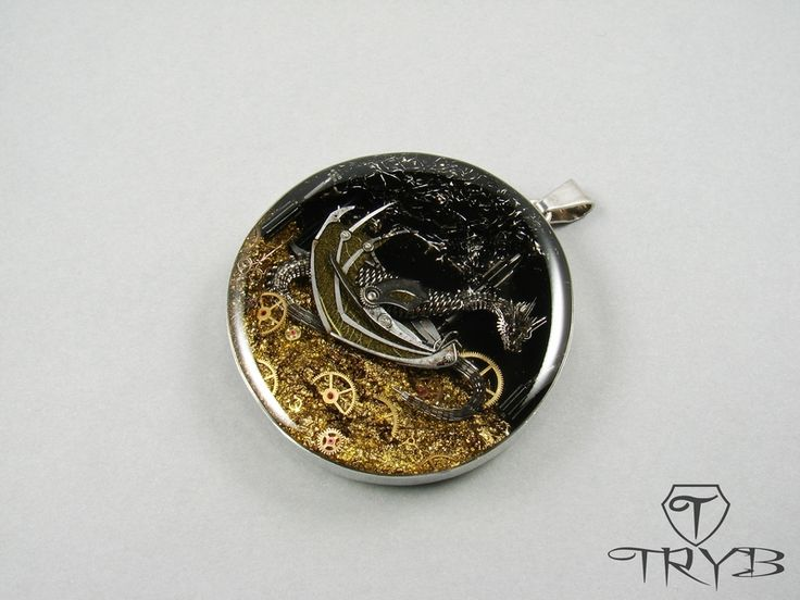 Dragon Iffjolk in his cave -  masterpiece made from watch parts by TRYB.http://polandhandmade.pl#polandhandmade #dragon #tryb #jewelry #pendant