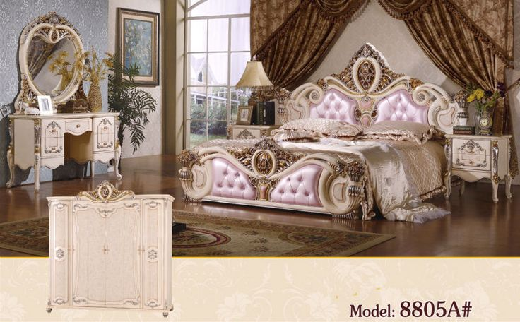 Luxe suite slaapkamer meubels van europa soort stijl inclusief 1 bed 2 nachtkastje 1 borst een dressoir en een make-up schommelstoel