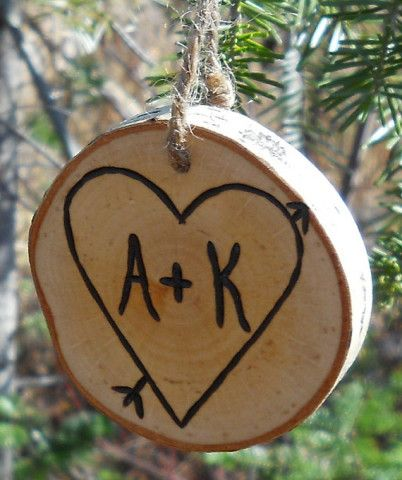 Valentine's Day  Ornament Personalized Couples Wedding Gift  Rustic Wood Branch Ornament