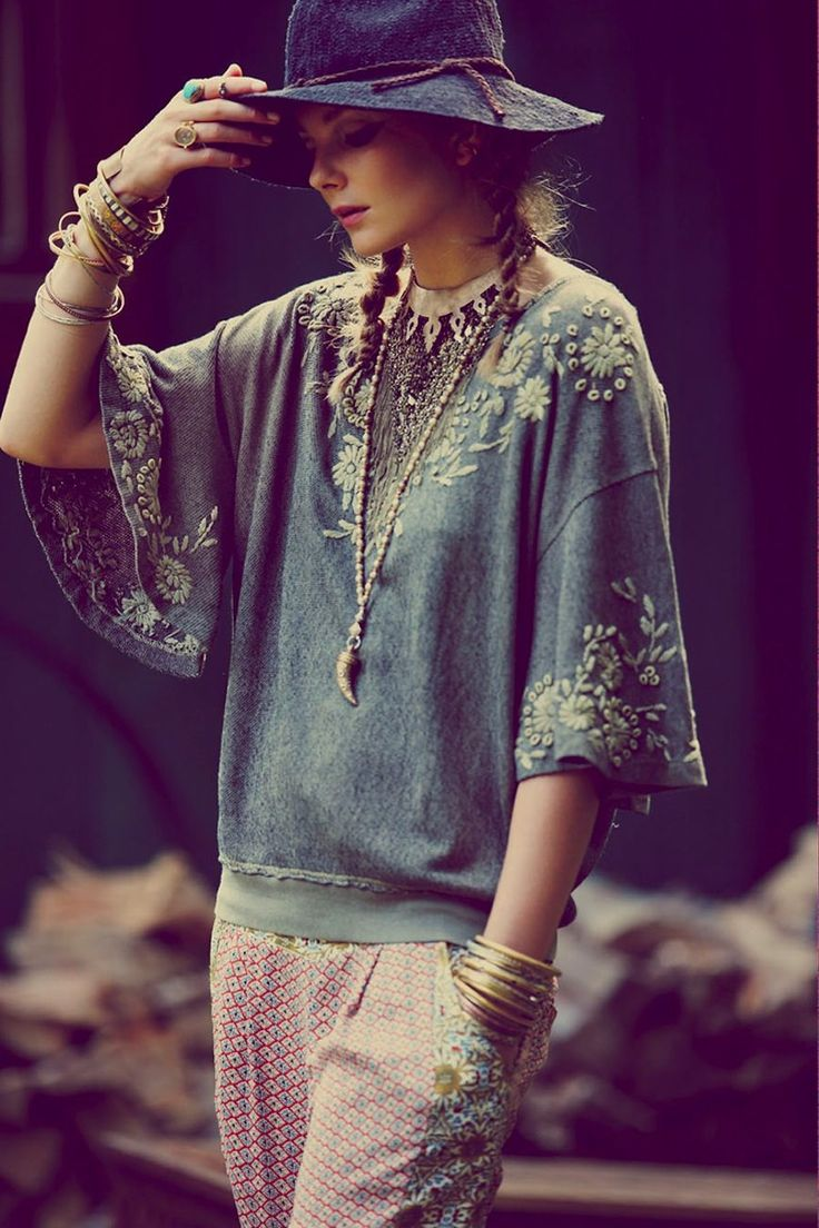 Bohemian Blouses. Beautiful combination of colors - thin knitted fabrics in oversized shapes