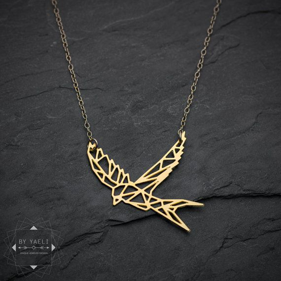 Bird necklace, swallow necklace, bird pendant, martin bird necklace, geometric bird origami necklace, gift for her