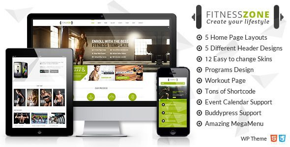 Fitness Zone Wordpress theme muscled for modern trend, gyms, sport club or fitness center and personal trainers! For Free Download from FreeWebElement.com