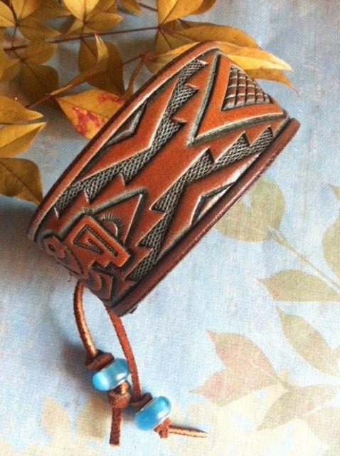 Leather Cuff Bracelet Aztec Bird Thunderbird Adjustable by dgierat, $22.00