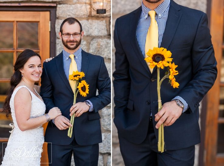 Simple sunflower bouquet for wedding. Bride and Groom at Table Rock Lodge, Pickens, South Carolina http://dallaslovephotography.com/?p=13110