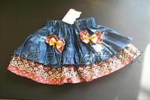 Цветочный кружево ковбой корейский лето модель ребенок девочки юбка юбки ребятишки платье принцессы корсет юбка юбка