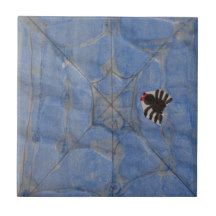 Art by Children, Spider with cobweb, drawing Ceramic Tile