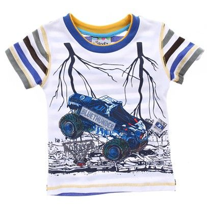 Monster Truck Tshirt With Blue And Yellow Striped Arms-AJ15051 $15.00 on Ozsale.com.au