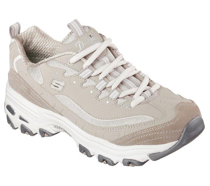 11936Taupe D'Lites Skechers Shoes Women Sport Casua Soft Memory Foam Leather