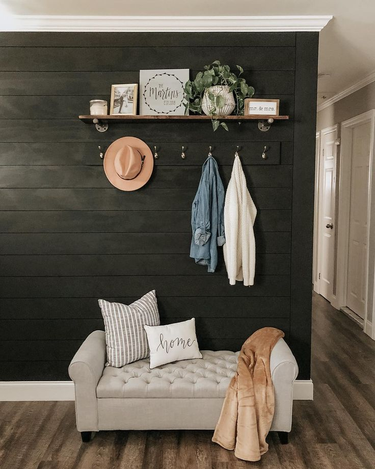 Painted Shiplap Accent Wall: Ship Lap Walls, Black Accent