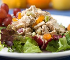 For a delicious lunch, serve chicken salad a crusty whole-wheat roll topped with lots of lettuce.