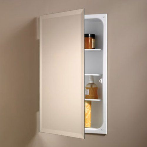 broannutone perfect square 16w x 26h in recessed beveled mirror medicine cabinet 823p24wh