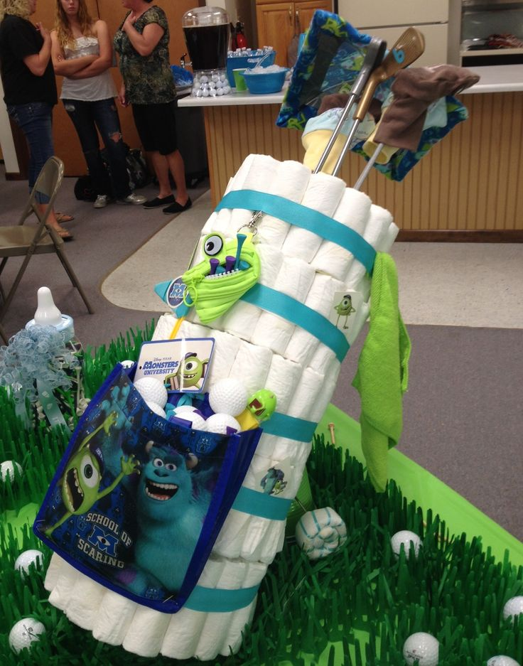Diaper golf bag to match shower theme. Decked out in Monsters Inc. to match nursery theme.