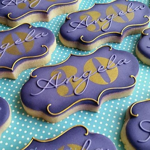 "Look at these wonderful cookies from @frostmebeautiful using our ""Valencia Plaque Cookie Cutter""! #cookiecutterkingdom"