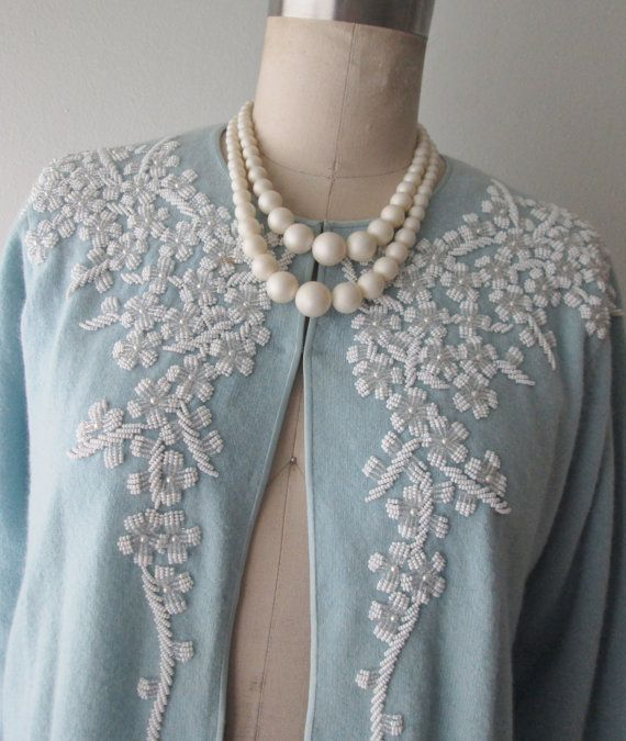 50's Beaded Cardigan // Vintage 1950's Baby by TheVintageStudio