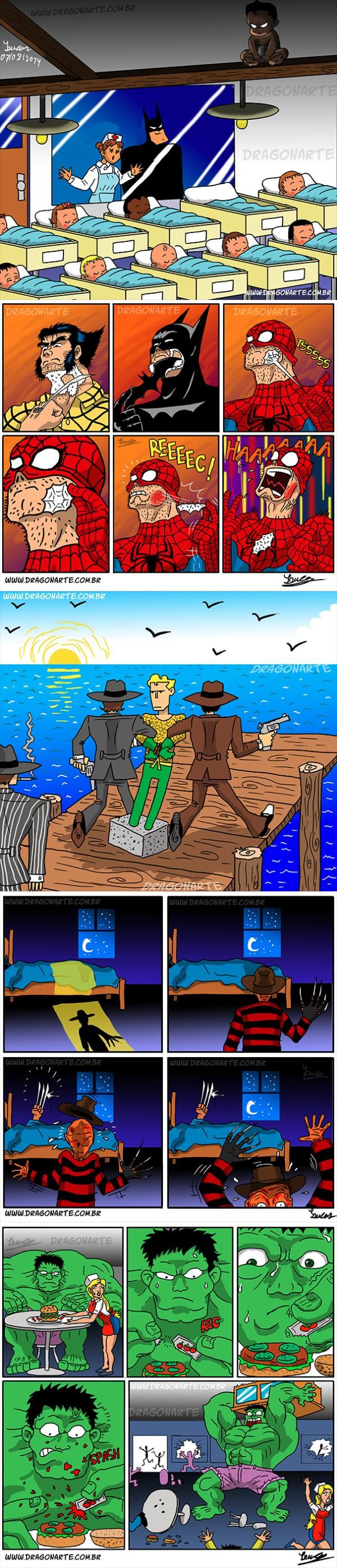 Look what happens when Freddy meets his match...Mob men think of drowning Aqua Man.. Spidey tried to shave-smart lol.. Haha.. Rofl :-D