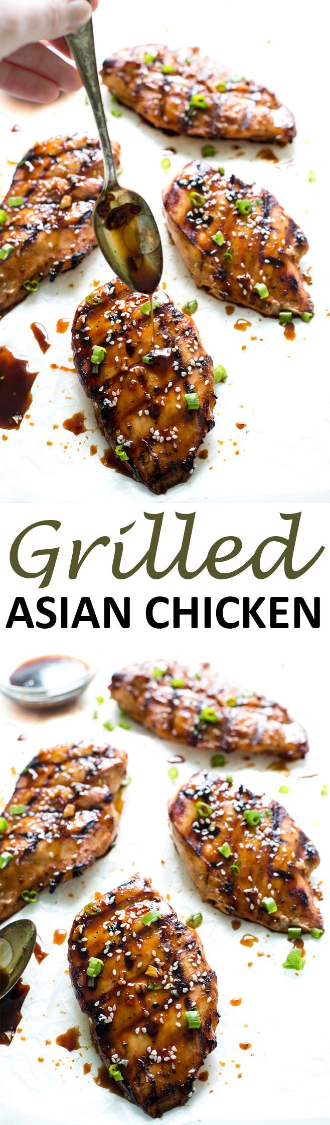 Juicy and tender Grilled Asian Chicken smothered in a sweet and spicy Asian sauce. Less than 10 minutes of prep time!