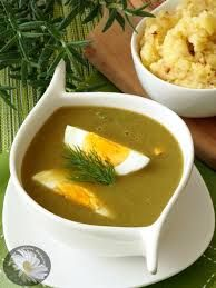 Sorrel soup  zupa SZCZAWIOWA Z JAJKIEM Sorrel soup is a soup made from good quality broth, sorrel leaves, garnished whit hard boiled egg,and chopped dill, preferably  served with new season  potato garnished with pork scratching.....enjoy summer on a plate