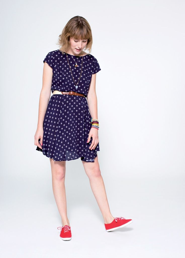 Sun, sea, love: here is a jolly and refined dark blue dress characterized by a delicate white floral print. SUN68 Woman SS15 #SUN68 #SS15 #woman #dress