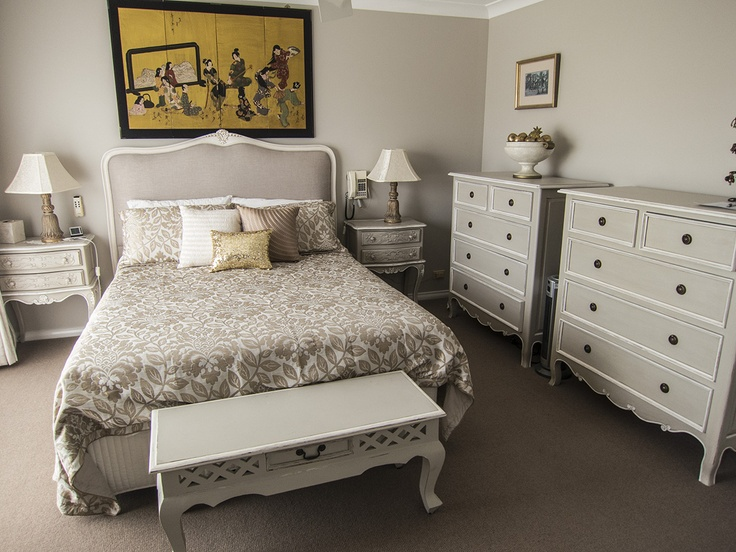 Client bedroom from Bedhead Design. Portia style upholstered headboard with hand carved european beach frame.