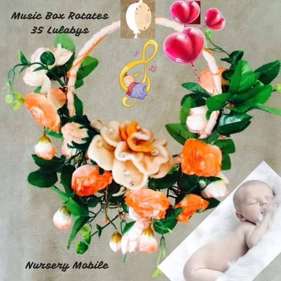 SPECIAL Nursery Decor..Felted Rose Music Mobile..Nursery Baby