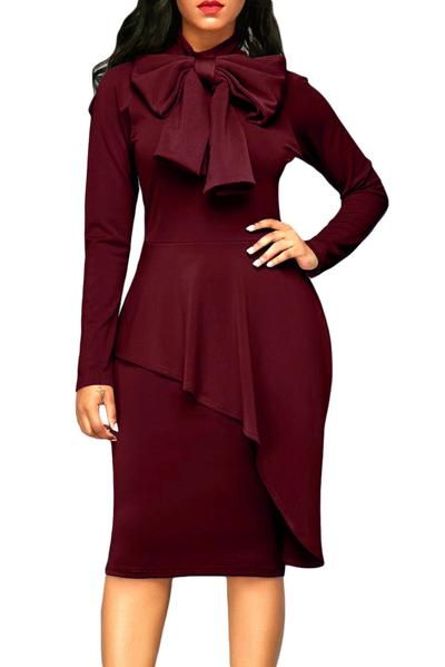 Burgundy Pussy Bow Long Sleeve Asymmetric Peplum Dress
