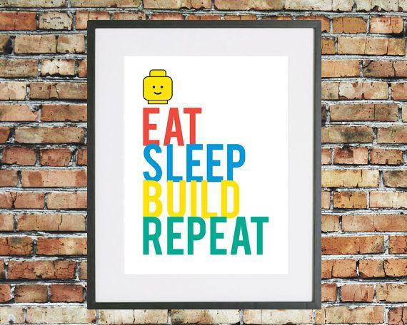 Typographic 'Eat, Sleep, Build, Repeat' Lego Quote Art Print. Lego mini figure head. Minifigure. Kids decor. Nursery wall art.