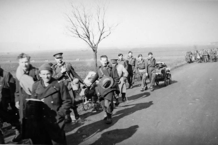 The Great March, along the road from Stalag Luft III, in late January, 1945. In the war's final months, the Germans forced their prisoners to march west, away from the advancing Soviet army, through the frozen countryside on foot. Jack Mason took part in the march.