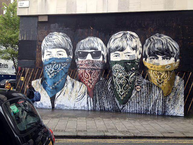 729 best images about street art urban art graffiti for Beatles wall mural