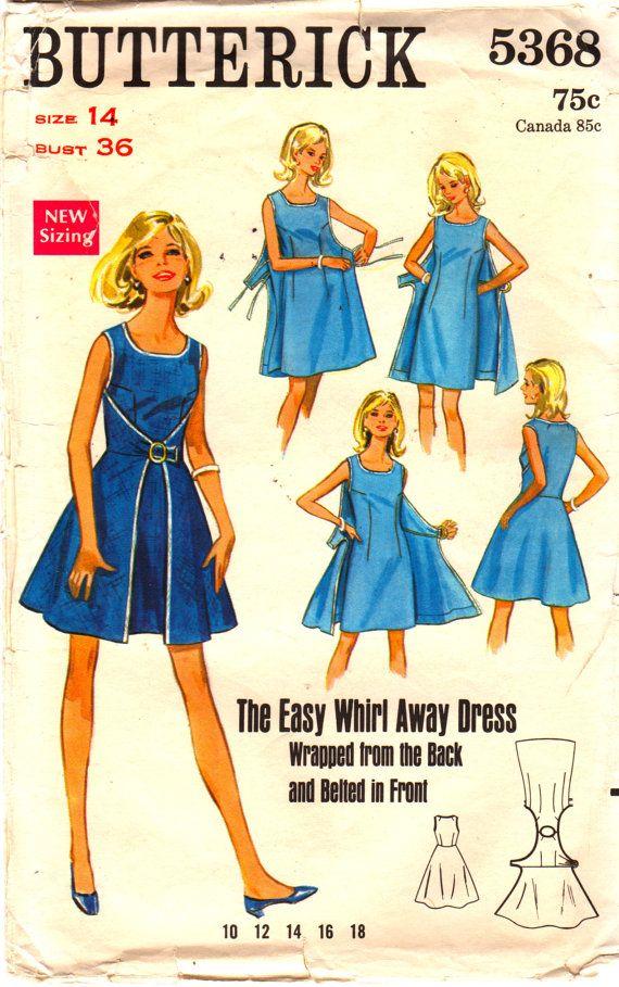 sesenta Butterick 5368 remolino lejos vestido patrón abrigo vestido escote redondo Womens Vintage costura patrón talla 14 busto 36