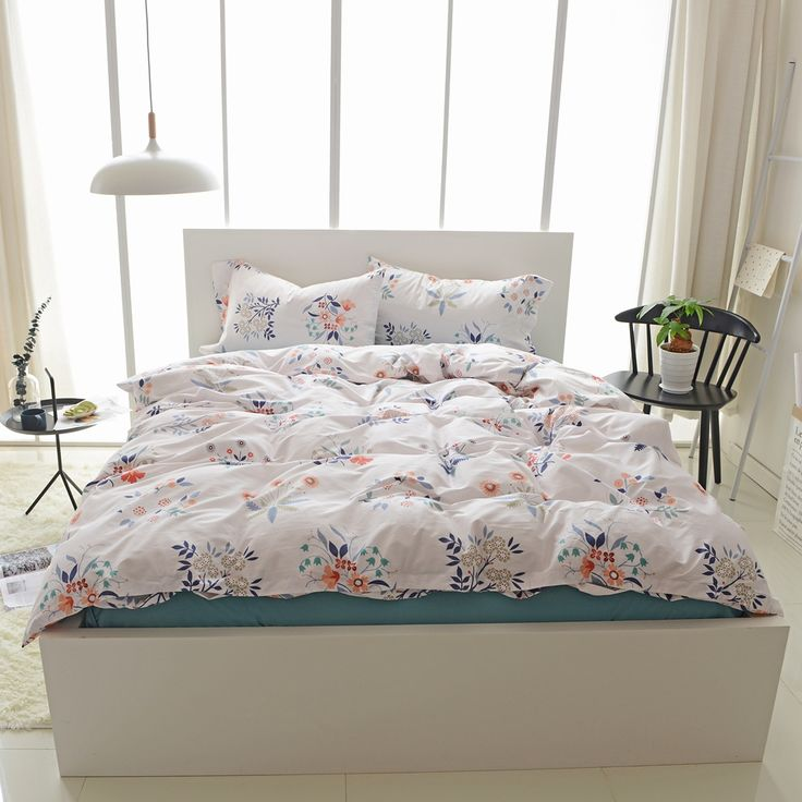 3/4pcs 100% Egyptian Cotton Flowers Duvet Cover Set Queen King Twin Size Bedding Sets Solid Color Bed Sheets Pillow Case