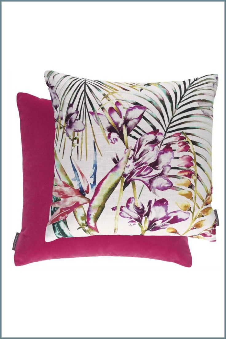 Harlequin Paradise cushion in flamingo.