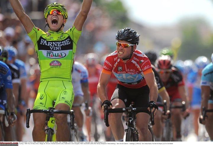 Cycling : 95th Tour of Italy 2012 / Stage 18     Cycling : 95th Tour of Italy 2012 / Stage 18 Arrival / Andrea Guardini (Ita) Celebration Joie Vreugde / Mark Cavendish (GBr) Red Jersey Deception Teleurstelling / San Vito Di Cadore - Vedelago (149Km)/ Giro Italia Italie / Ronde Rit Etape /(c)Tim De Waele
