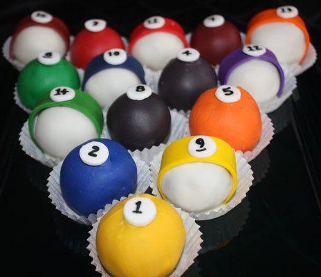 pool table cake pops   Pool Balls Cake