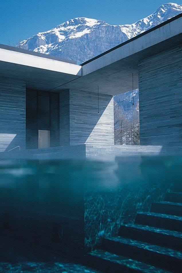 originally built in the 1960's the beautiful modern 'Therme Vals spa' tapping the naturally occurring thermal mineral spring in the Swiss Alps...