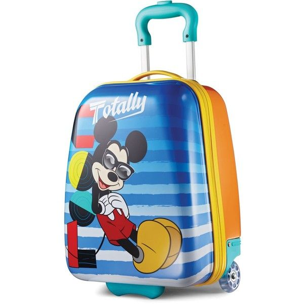 "Disney Mickey Mouse 18"" Hardside Rolling Suitcase By American... (361.200 COP) ❤ liked on Polyvore featuring bags, luggage and mickey"