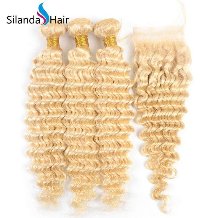Silanda Hair Nice Pure #613 Deep Wave Human Hair Weave Weft 3 Bundles With 4″X4″ Lace Closure