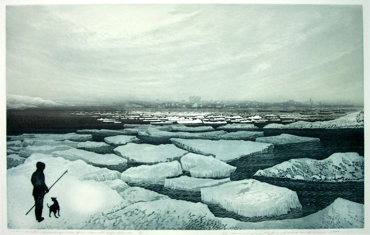 """""""March Wesleyville, from Bennetts High Island"""" by David Blackwood at Mayberry Fine Art"""