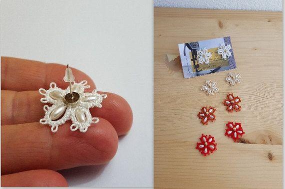 Stud earring beads earrings lace earrings by FlaviacAccessories