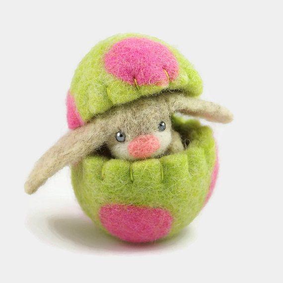 Easter Bunny in a Felt Egg, Light Green Easter Decoration, Hollow Egg, Felt Ornament, Cute Spring Home Decor
