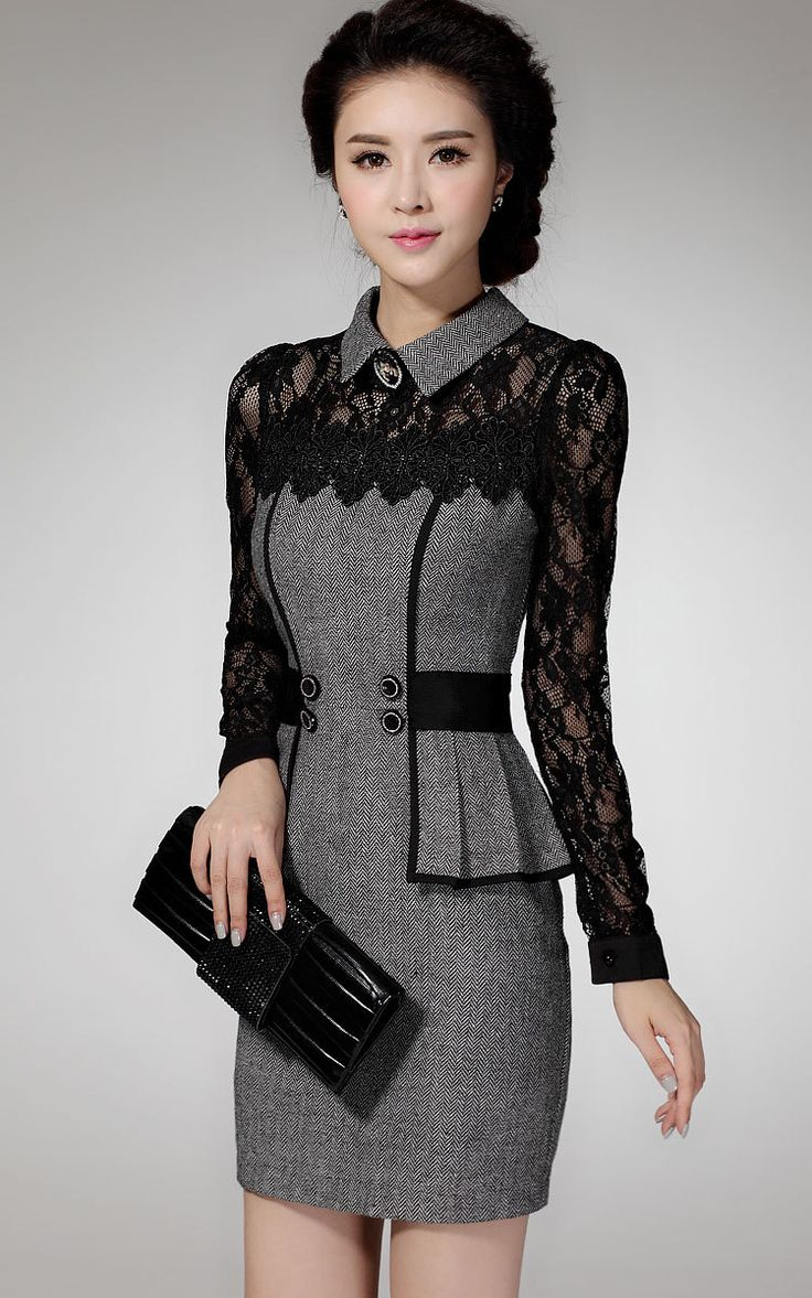 Modern dress casual - Vestidos Casual Dress 2016 Winter Dress Ol Elegant Classical Lace Long Sleeve Package Hip Dress New Arrive From China Work Dresses Seller