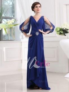 Front: Royal Blue Glamorous Sheath/Column Beading V-neck Floor-length Chiffon Dress