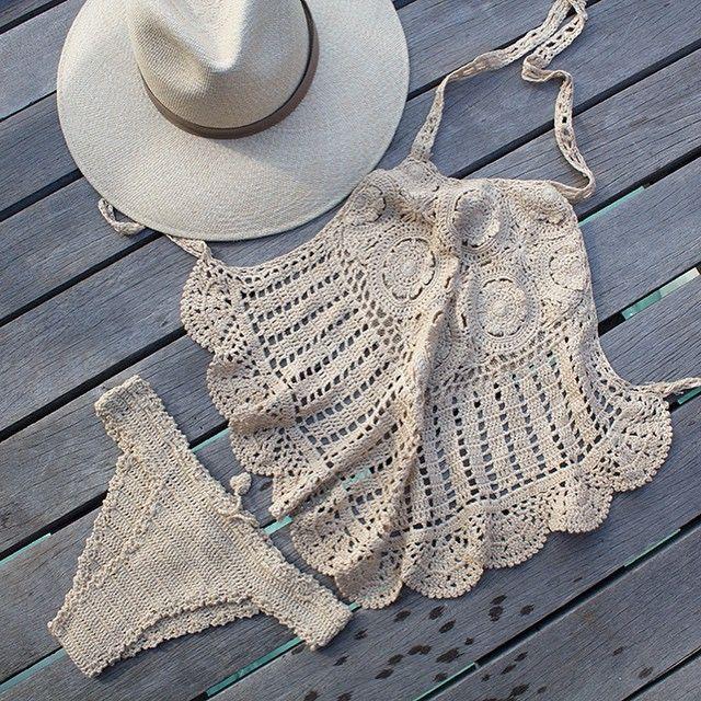crochet bikini & hat