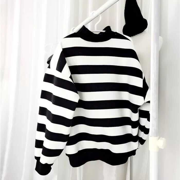 2016 New Spring Women Hoodies Jumper Pullover Black and White Stripes Harajuku Sweatshirt Knitwear Fashion Clothes Z2019