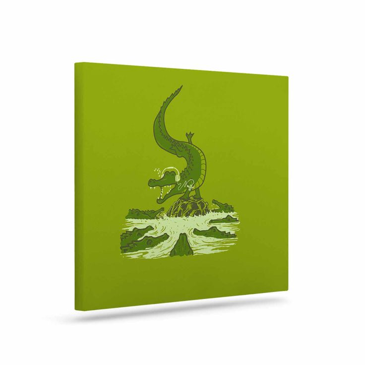 "BarmalisiRTB ""Breakdance Crocodile"" Green Beige Canvas Art"